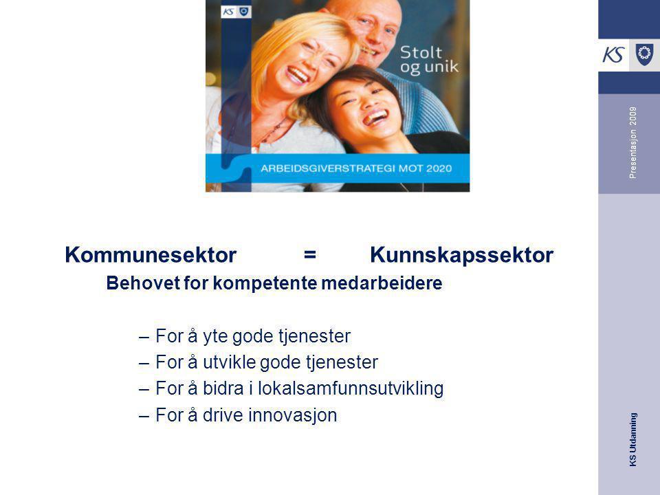 KS Utdanning Presentasjon 2009 Kommunesektor=Kunnskapssektor Behovet for kompetente medarbeidere –For å yte gode tjenester –For å utvikle gode tjenest