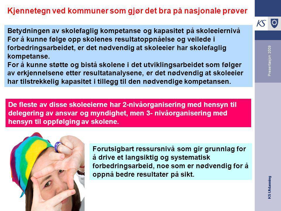 KS Utdanning Presentasjon 2009 Kjennetegn ved kommuner som gjør det bra på nasjonale prøver Betydningen av skolefaglig kompetanse og kapasitet på skol