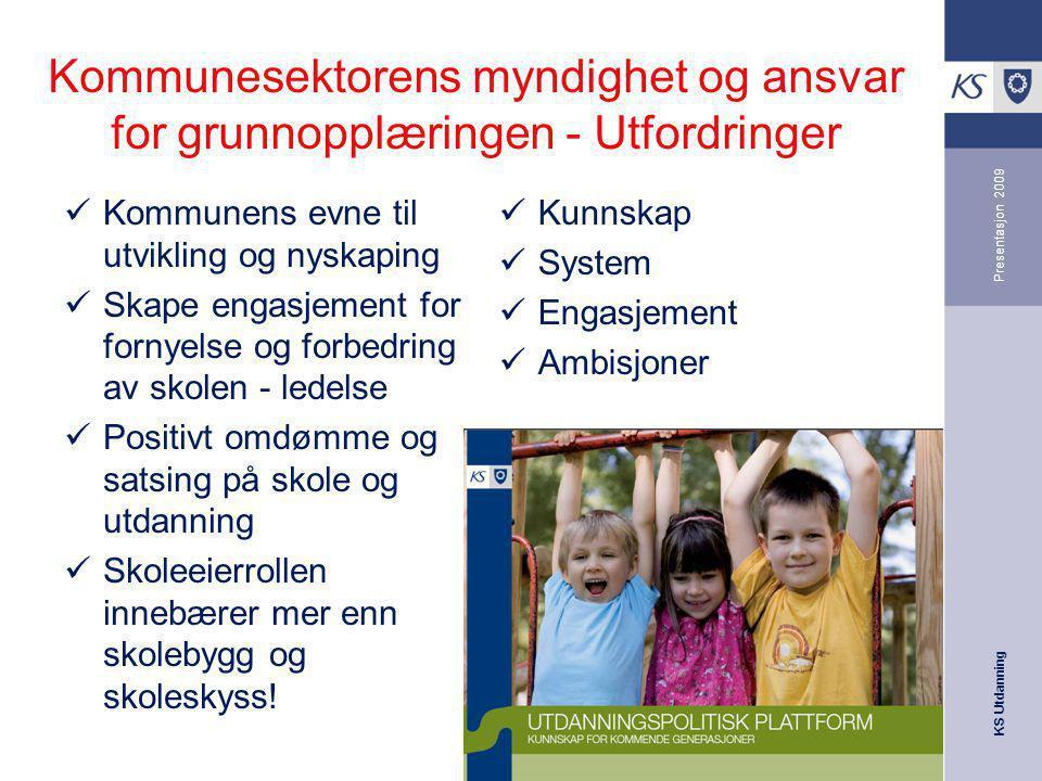 KS Utdanning Presentasjon 2009 Kommunesektorens myndighet og ansvar for grunnopplæringen - Utfordringer Kommunens evne til utvikling og nyskaping Skap