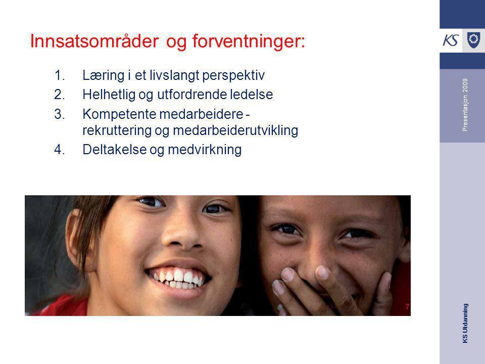 KS Utdanning Presentasjon 2009 Innsatsområder og forventninger: 1.Læring i et livslangt perspektiv 2.Helhetlig og utfordrende ledelse 3.Kompetente med