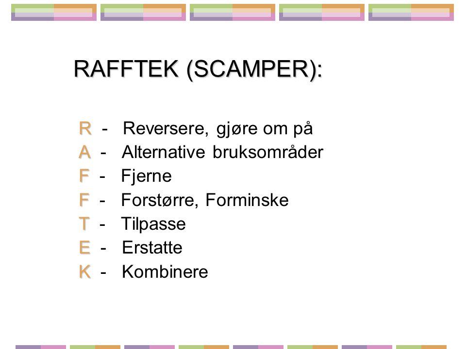 RAFFTEK (SCAMPER): R R - Reversere, gjøre om på A A - Alternative bruksområder F F - Fjerne F F - Forstørre, Forminske T T - Tilpasse E E - Erstatte K