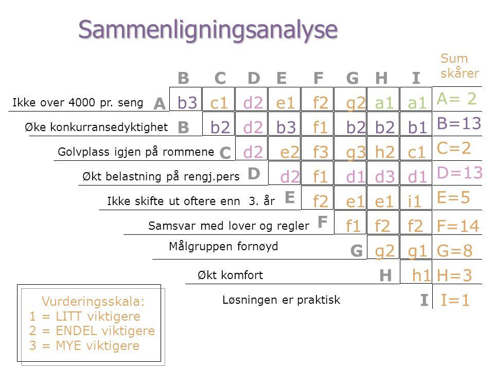 BCDEFGHI A B C D E F G H A= 2 B=13 C=2 D=13 E=5 F=14 G=8 Sum skårer Vurderingsskala: 1 = LITT viktigere 2 = ENDEL viktigere 3 = MYE viktigere Ikke ove