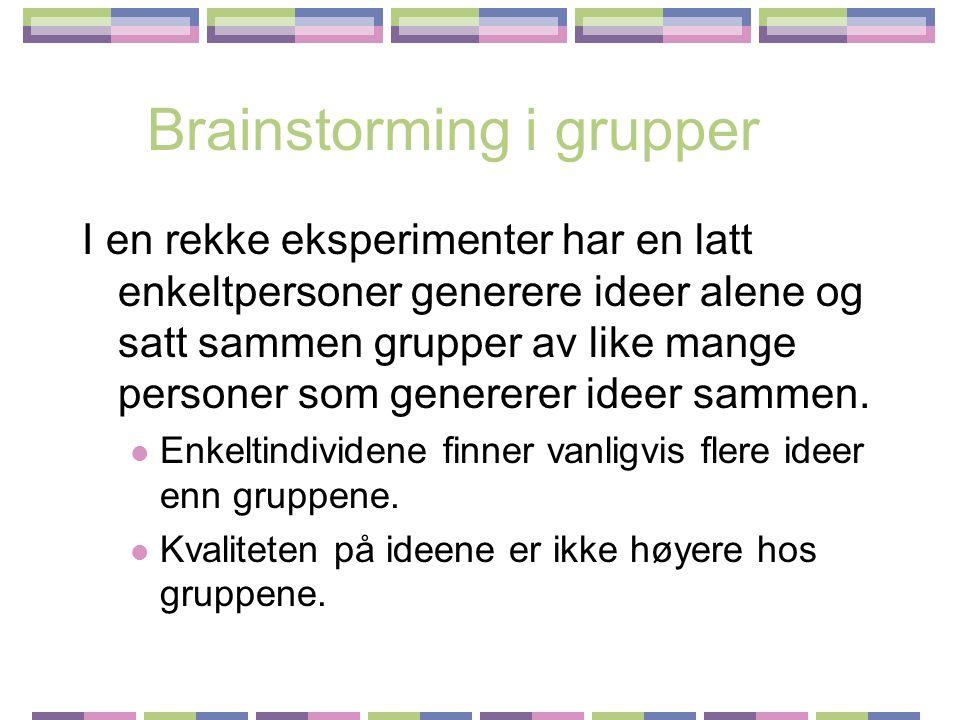 Brainstorming i grupper I en rekke eksperimenter har en latt enkeltpersoner generere ideer alene og satt sammen grupper av like mange personer som genererer ideer sammen.