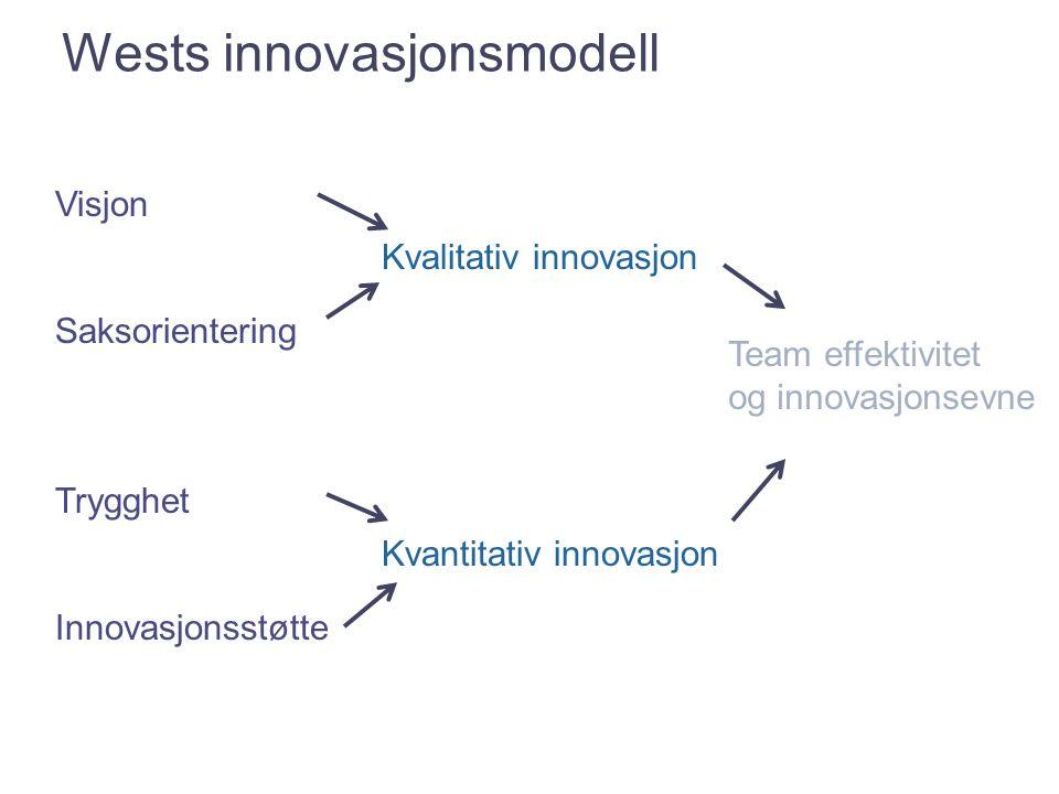 Visjon Saksorientering Trygghet Innovasjonsstøtte Kvalitativ innovasjon Kvantitativ innovasjon Team effektivitet og innovasjonsevne Wests innovasjonsm
