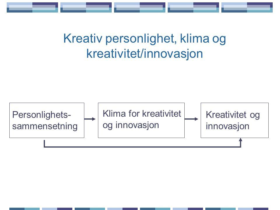 Kreativ personlighet, klima og kreativitet/innovasjon Klima for kreativitet og innovasjon Kreativitet og innovasjon Personlighets- sammensetning