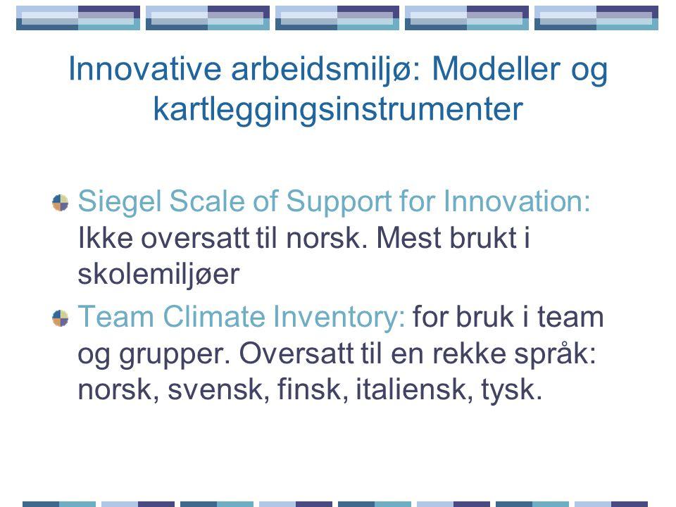 Innovative arbeidsmiljø: Modeller og kartleggingsinstrumenter Siegel Scale of Support for Innovation: Ikke oversatt til norsk. Mest brukt i skolemiljø
