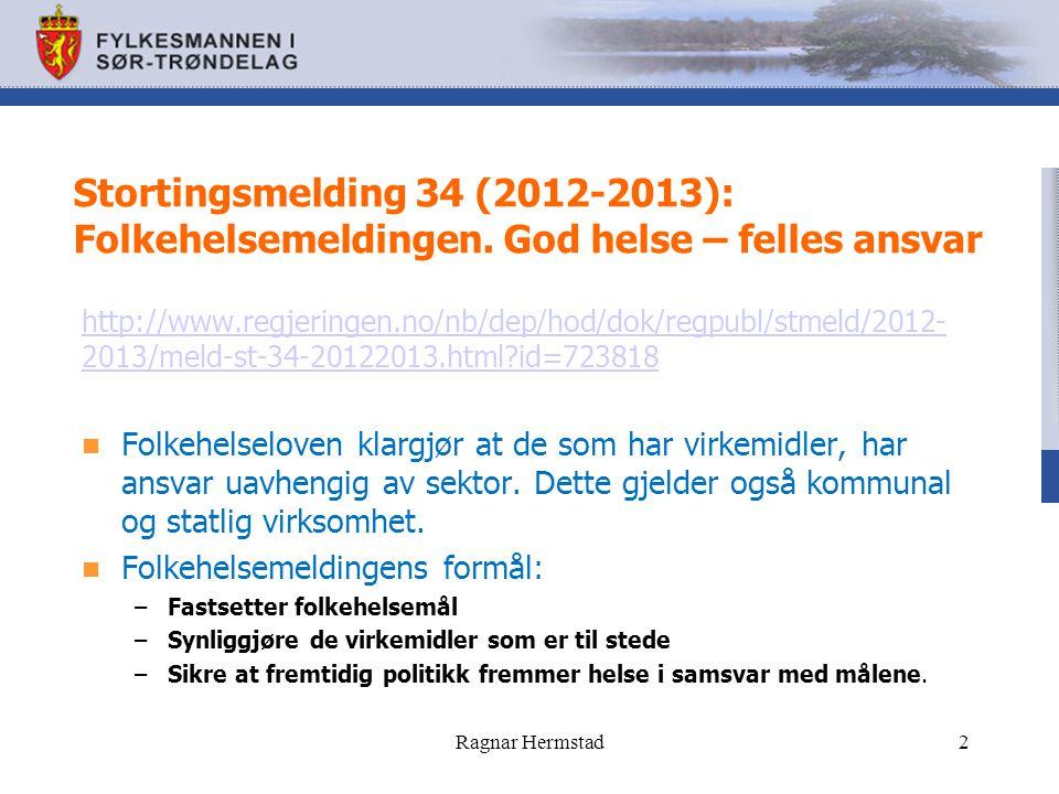 Folkehelsemeldingens mål: Norge igjen bli ledende i levetid Redusere ikke-smittsomme folkesykdommer med 25 % Få flere år med god livskvalitet Redusere sosial ulikhet Få et samfunn som fremmer helse.