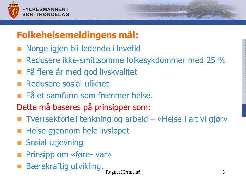 Folkehelsemeldingens mål: Norge igjen bli ledende i levetid Redusere ikke-smittsomme folkesykdommer med 25 % Få flere år med god livskvalitet Redusere