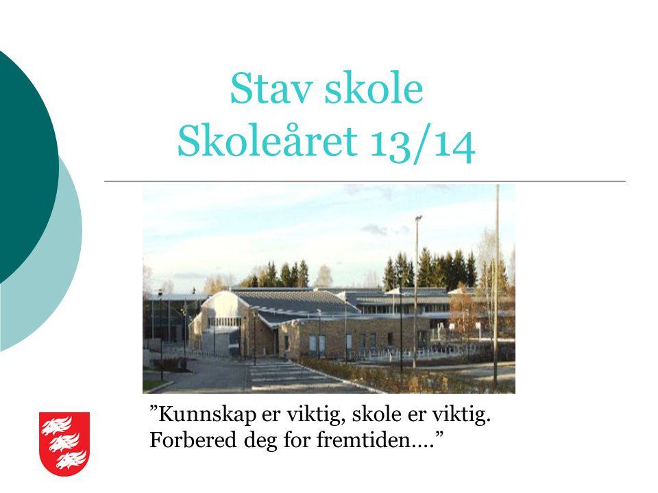 """Stav skole Skoleåret 13/14 """"Kunnskap er viktig, skole er viktig. Forbered deg for fremtiden…."""""""