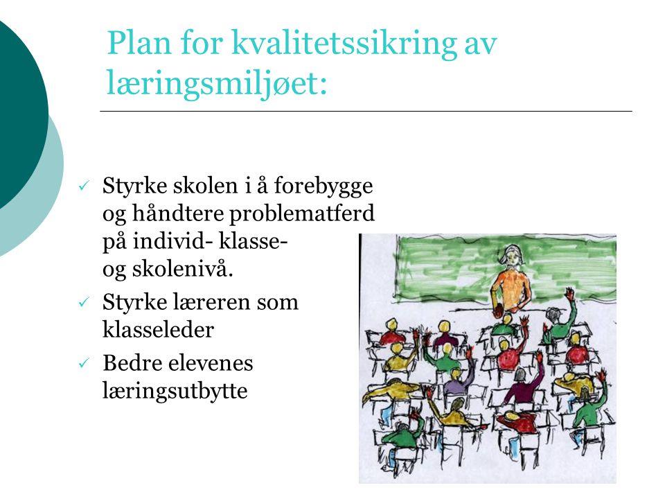 Plan for kvalitetssikring av læringsmiljøet: Styrke skolen i å forebygge og håndtere problematferd på individ- klasse- og skolenivå. Styrke læreren so
