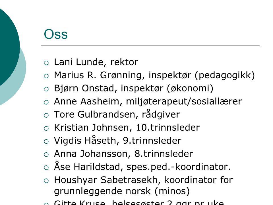 Oss  Lani Lunde, rektor  Marius R. Grønning, inspektør (pedagogikk)  Bjørn Onstad, inspektør (økonomi)  Anne Aasheim, miljøterapeut/sosiallærer 