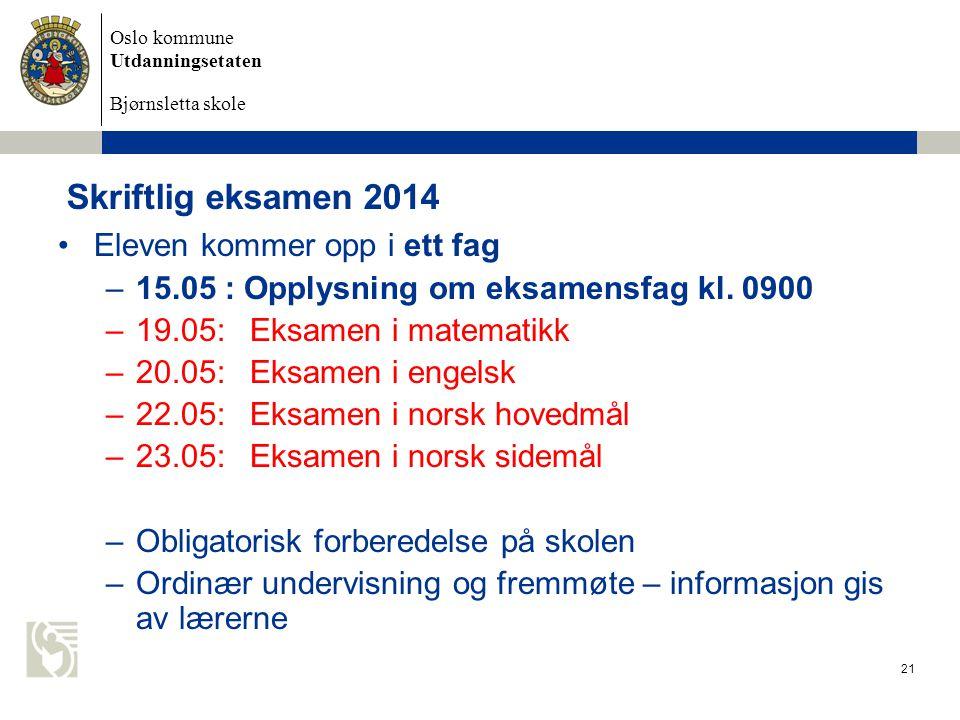 Oslo kommune Utdanningsetaten Bjørnsletta skole Skriftlig eksamen 2014 Eleven kommer opp i ett fag –15.05 : Opplysning om eksamensfag kl. 0900 –19.05: