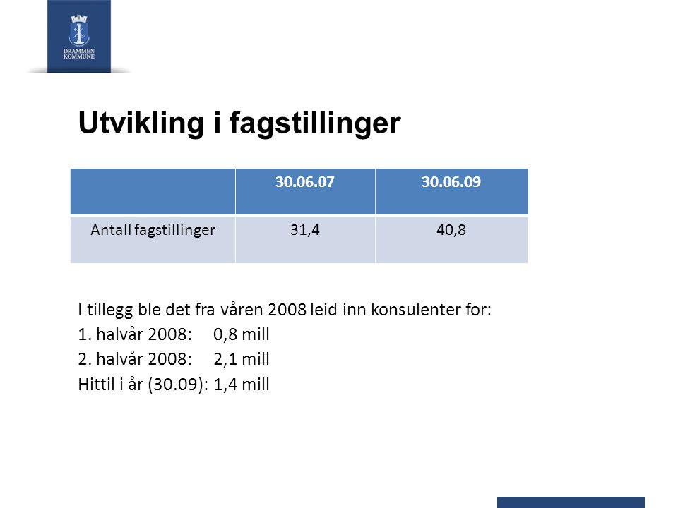 Utvikling i fagstillinger 30.06.0730.06.09 Antall fagstillinger31,440,8 I tillegg ble det fra våren 2008 leid inn konsulenter for: 1.
