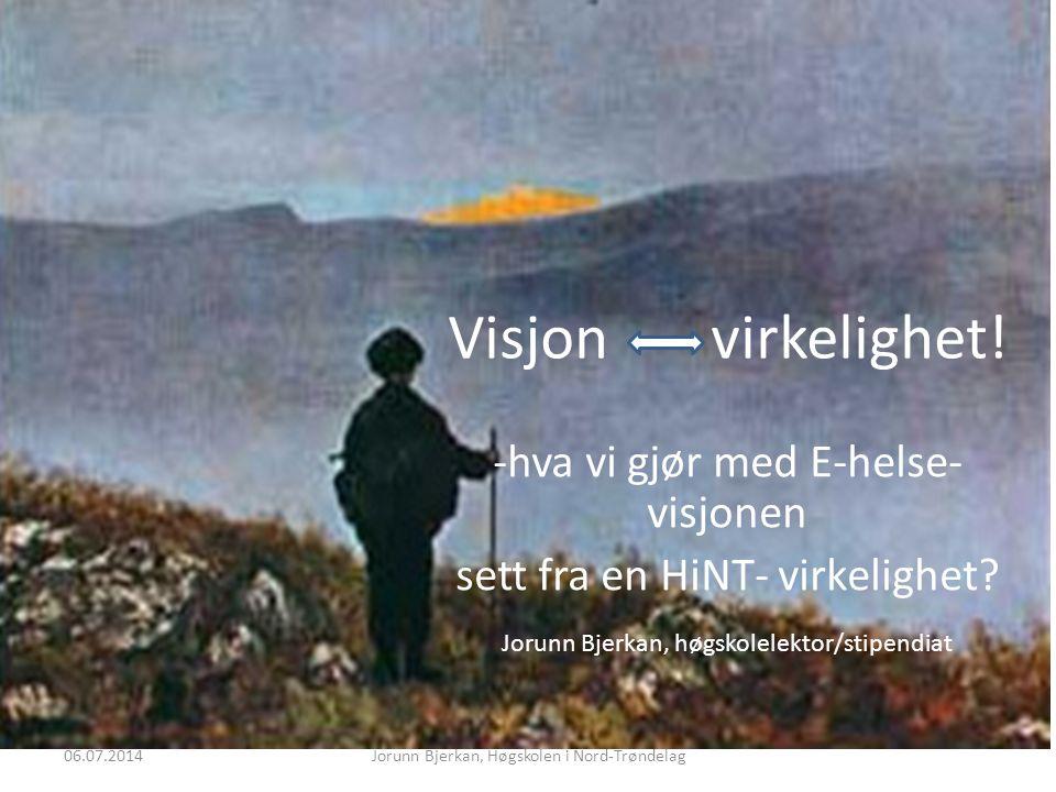 Visjon virkelighet. -hva vi gjør med E-helse- visjonen sett fra en HiNT- virkelighet.