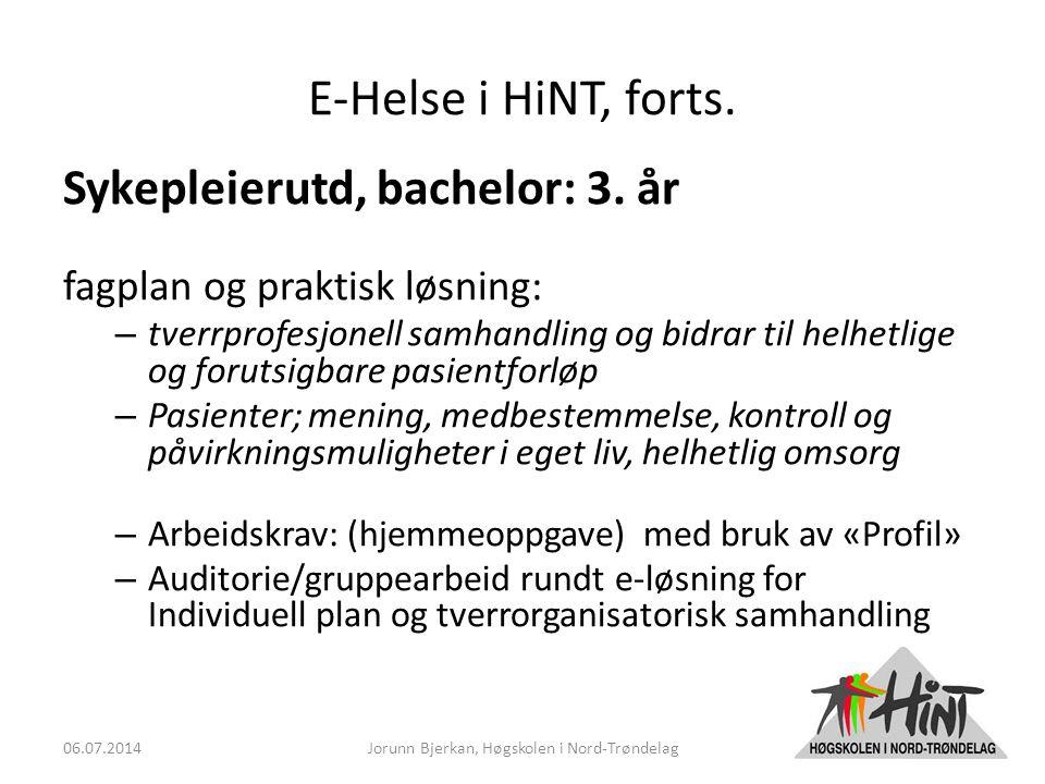 E-Helse i HiNT, forts. Sykepleierutd, bachelor: 3.