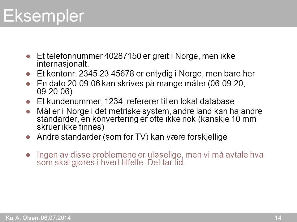Kai A. Olsen, 06.07.2014 14 Eksempler Et telefonnummer 40287150 er greit i Norge, men ikke internasjonalt. Et kontonr. 2345 23 45678 er entydig i Norg