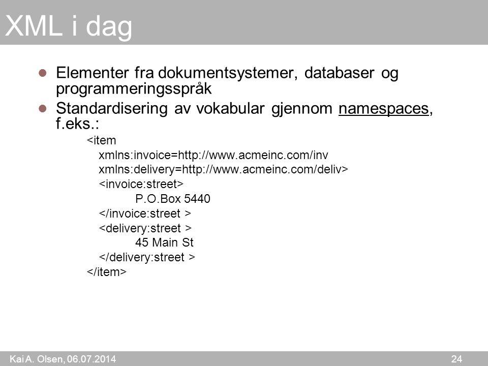 Kai A. Olsen, 06.07.2014 24 XML i dag Elementer fra dokumentsystemer, databaser og programmeringsspråk Standardisering av vokabular gjennom namespaces