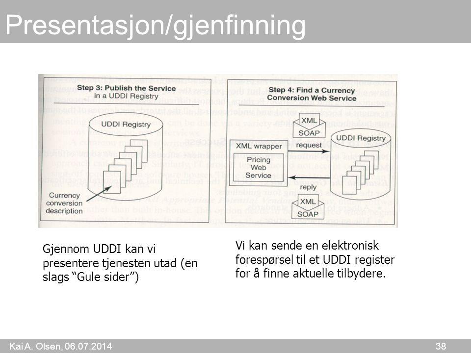 """Kai A. Olsen, 06.07.2014 38 Presentasjon/gjenfinning Gjennom UDDI kan vi presentere tjenesten utad (en slags """"Gule sider"""") Vi kan sende en elektronisk"""