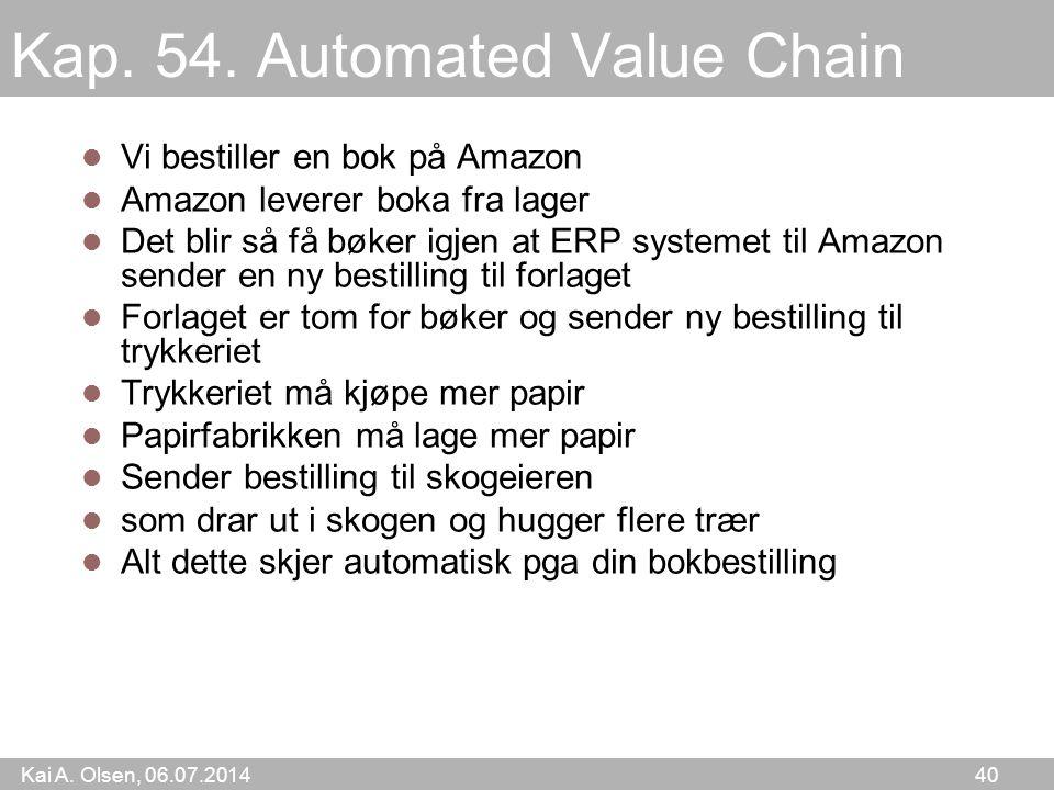 Kai A. Olsen, 06.07.2014 40 Kap. 54. Automated Value Chain Vi bestiller en bok på Amazon Amazon leverer boka fra lager Det blir så få bøker igjen at E