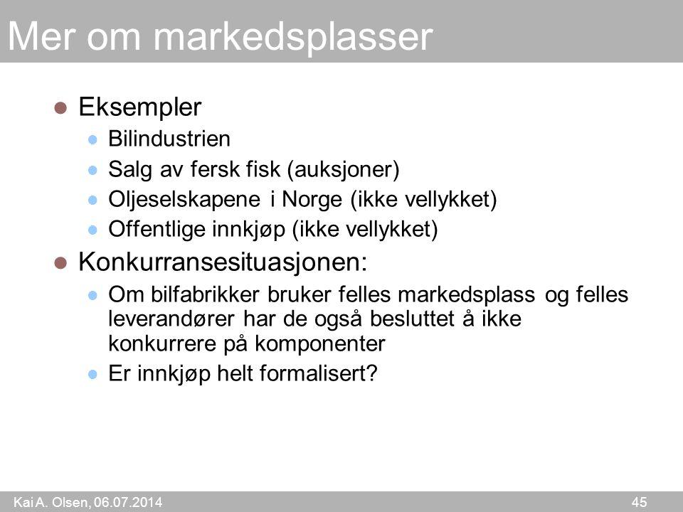 Kai A. Olsen, 06.07.2014 45 Mer om markedsplasser Eksempler Bilindustrien Salg av fersk fisk (auksjoner) Oljeselskapene i Norge (ikke vellykket) Offen