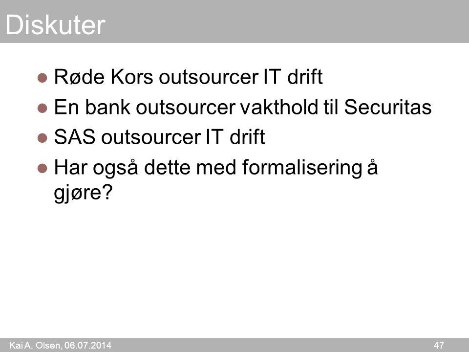 Kai A. Olsen, 06.07.2014 47 Diskuter Røde Kors outsourcer IT drift En bank outsourcer vakthold til Securitas SAS outsourcer IT drift Har også dette me