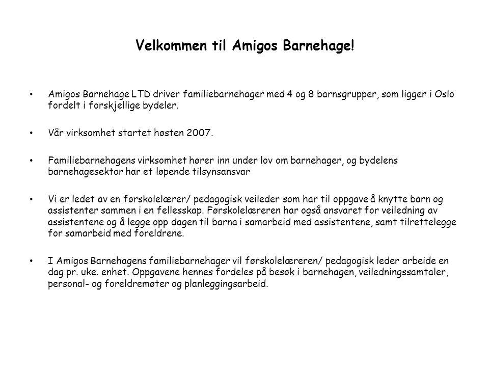 Velkommen til Amigos Barnehage! Amigos Barnehage LTD driver familiebarnehager med 4 og 8 barnsgrupper, som ligger i Oslo fordelt i forskjellige bydele