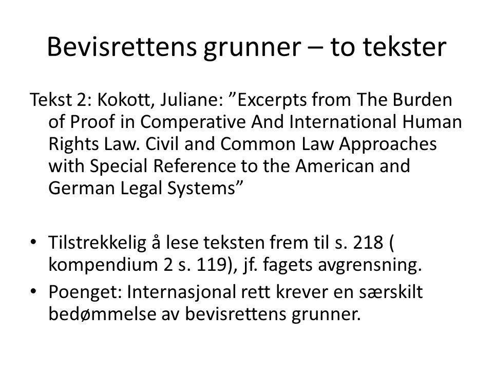"Bevisrettens grunner – to tekster Tekst 2: Kokott, Juliane: ""Excerpts from The Burden of Proof in Comperative And International Human Rights Law. Civi"