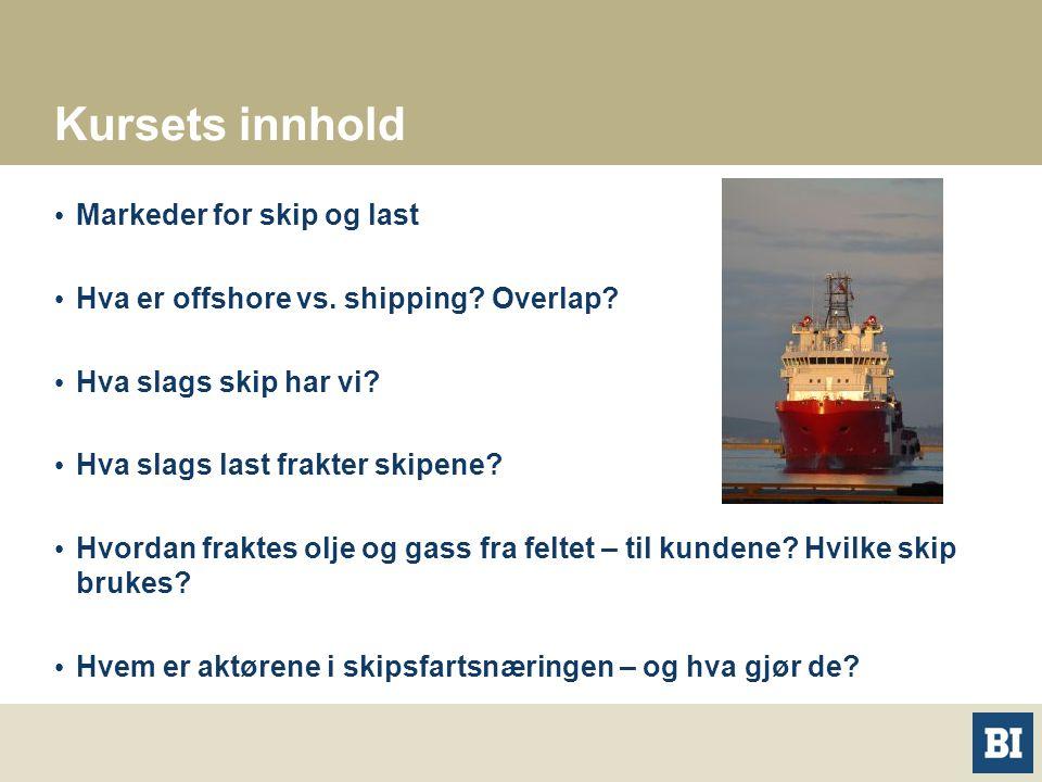 Kursets innhold Markeder for skip og last Hva er offshore vs. shipping? Overlap? Hva slags skip har vi? Hva slags last frakter skipene? Hvordan frakte