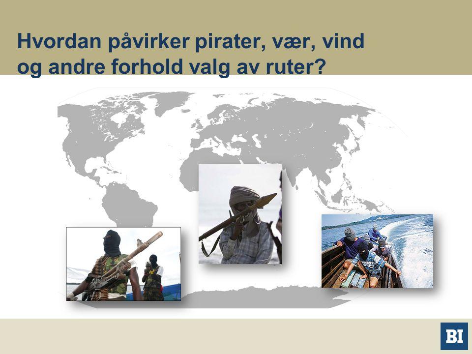 Hvordan påvirker pirater, vær, vind og andre forhold valg av ruter?