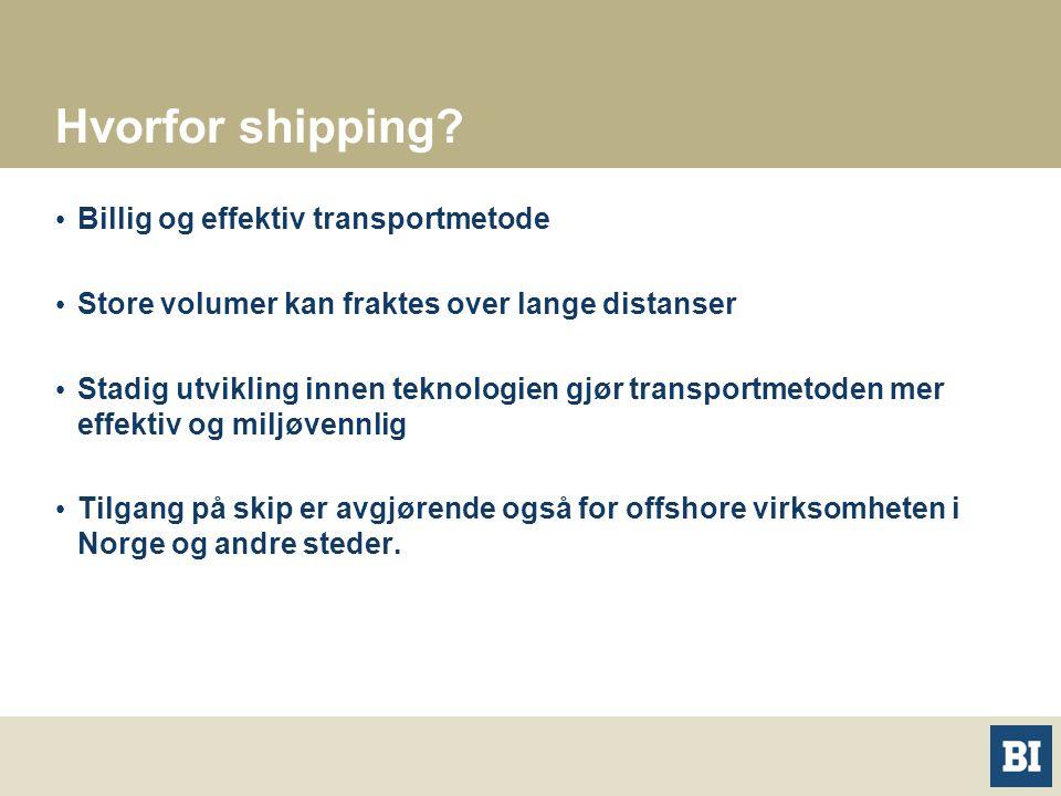 Hvorfor shipping? Billig og effektiv transportmetode Store volumer kan fraktes over lange distanser Stadig utvikling innen teknologien gjør transportm