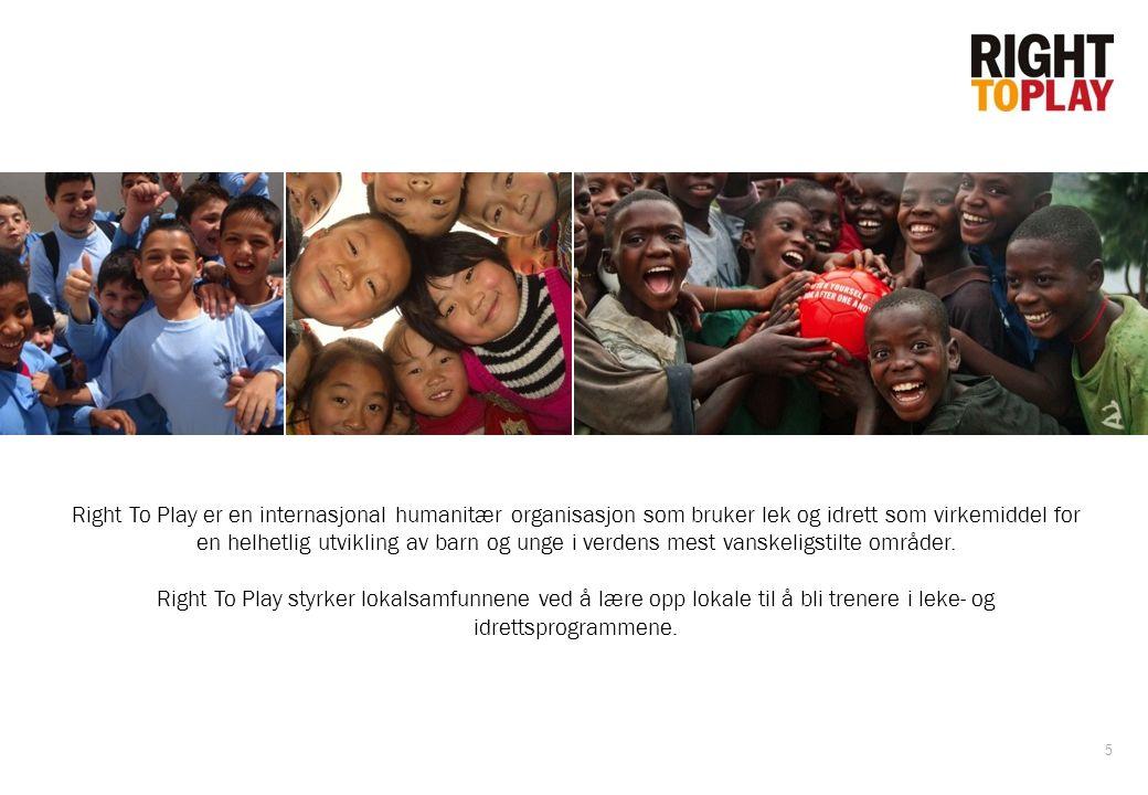 5 Right To Play er en internasjonal humanitær organisasjon som bruker lek og idrett som virkemiddel for en helhetlig utvikling av barn og unge i verde