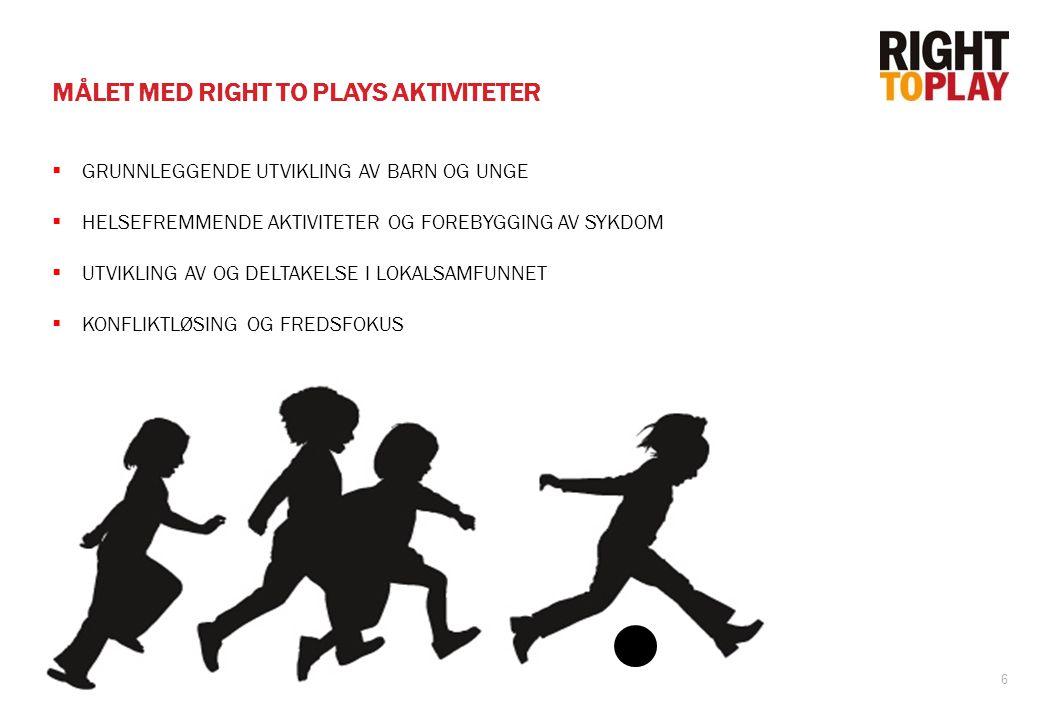 6 MÅLET MED RIGHT TO PLAYS AKTIVITETER  GRUNNLEGGENDE UTVIKLING AV BARN OG UNGE  HELSEFREMMENDE AKTIVITETER OG FOREBYGGING AV SYKDOM  UTVIKLING AV