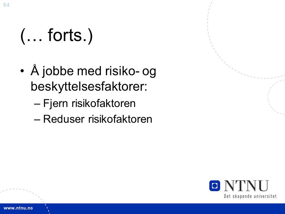 64 (… forts.) Å jobbe med risiko- og beskyttelsesfaktorer: –Fjern risikofaktoren –Reduser risikofaktoren