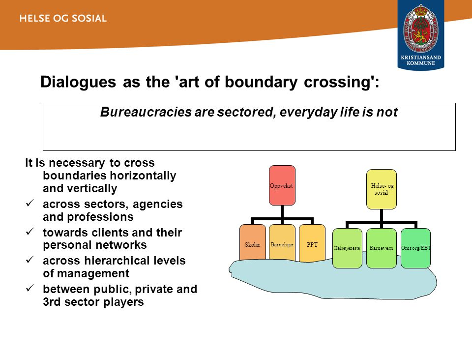 Dialogues as the 'art of boundary crossing': It is necessary to cross boundaries horizontally and vertically across sectors, agencies and professions