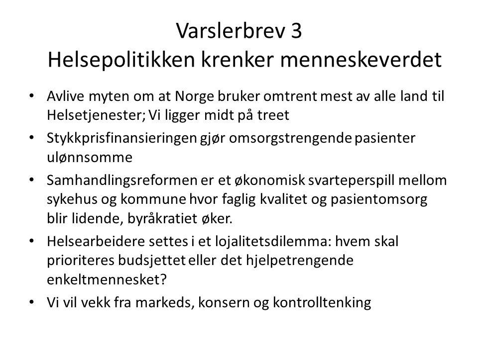 Varslerbrev 3 Helsepolitikken krenker menneskeverdet Avlive myten om at Norge bruker omtrent mest av alle land til Helsetjenester; Vi ligger midt på t