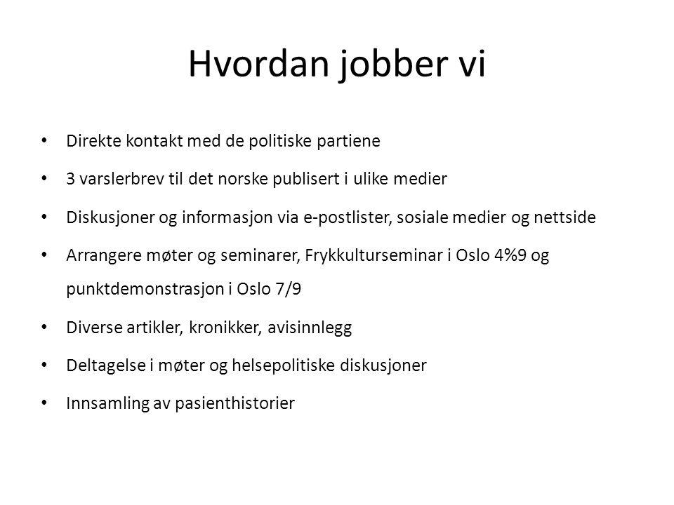 Hvordan jobber vi Direkte kontakt med de politiske partiene 3 varslerbrev til det norske publisert i ulike medier Diskusjoner og informasjon via e-pos