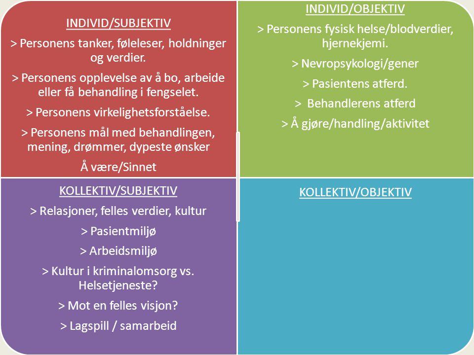 INDIVID/SUBJEKTIV > Personens tanker, føleleser, holdninger og verdier.