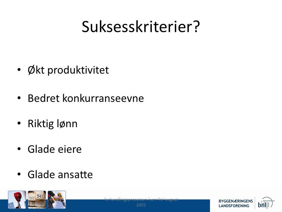 forhandlingsprosessen-kurs RLF august 2003 12 Suksesskriterier? Økt produktivitet Bedret konkurranseevne Riktig lønn Glade eiere Glade ansatte