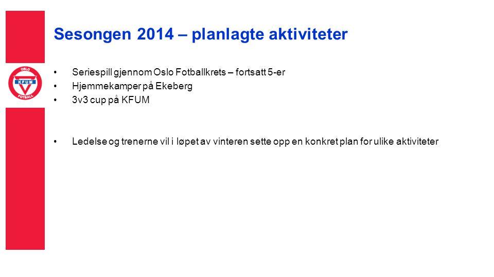 Sesongen 2014 – planlagte aktiviteter Seriespill gjennom Oslo Fotballkrets – fortsatt 5-er Hjemmekamper på Ekeberg 3v3 cup på KFUM Ledelse og trenerne