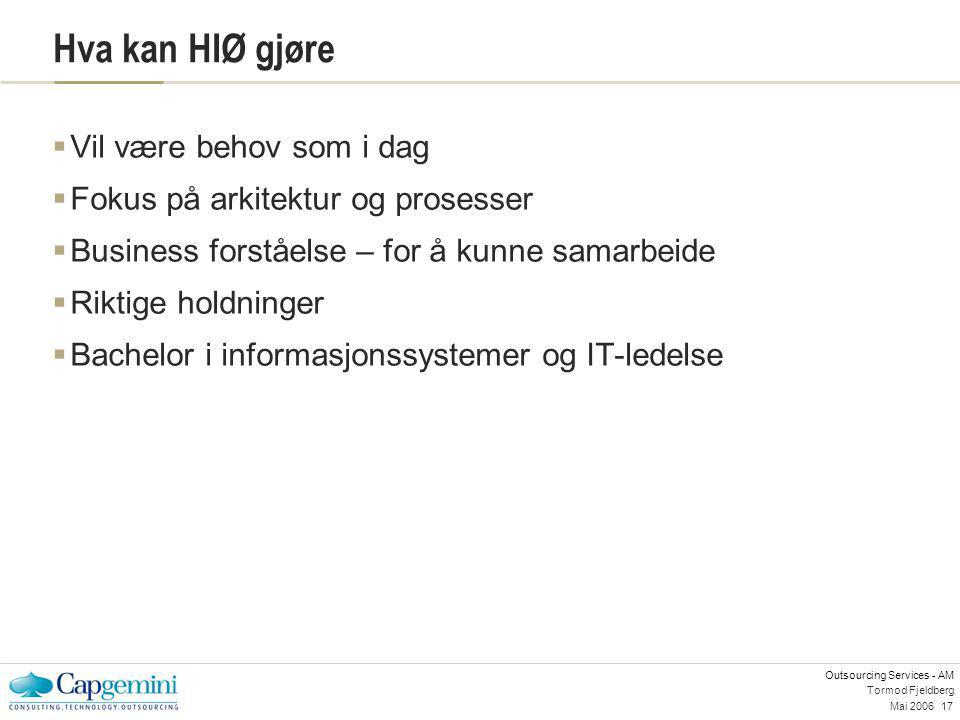 Outsourcing Services - AM Mai 200617 Tormod Fjeldberg Hva kan HIØ gjøre  Vil være behov som i dag  Fokus på arkitektur og prosesser  Business forst