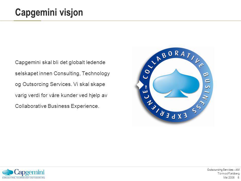 Outsourcing Services - AM Mai 20065 Tormod Fjeldberg Capgemini visjon Capgemini skal bli det globalt ledende selskapet innen Consulting, Technology og
