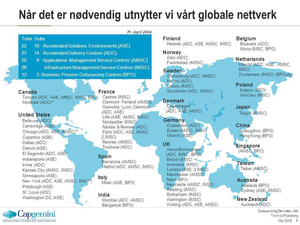 Outsourcing Services - AM Mai 20068 Tormod Fjeldberg Når det er nødvendig utnytter vi vårt globale nettverk Total Hubs 22 18 Accelerated Solutions Env