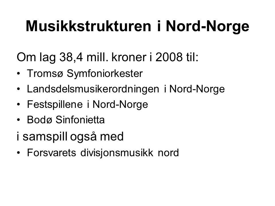 Musikkstrukturen i Nord-Norge Om lag 38,4 mill.