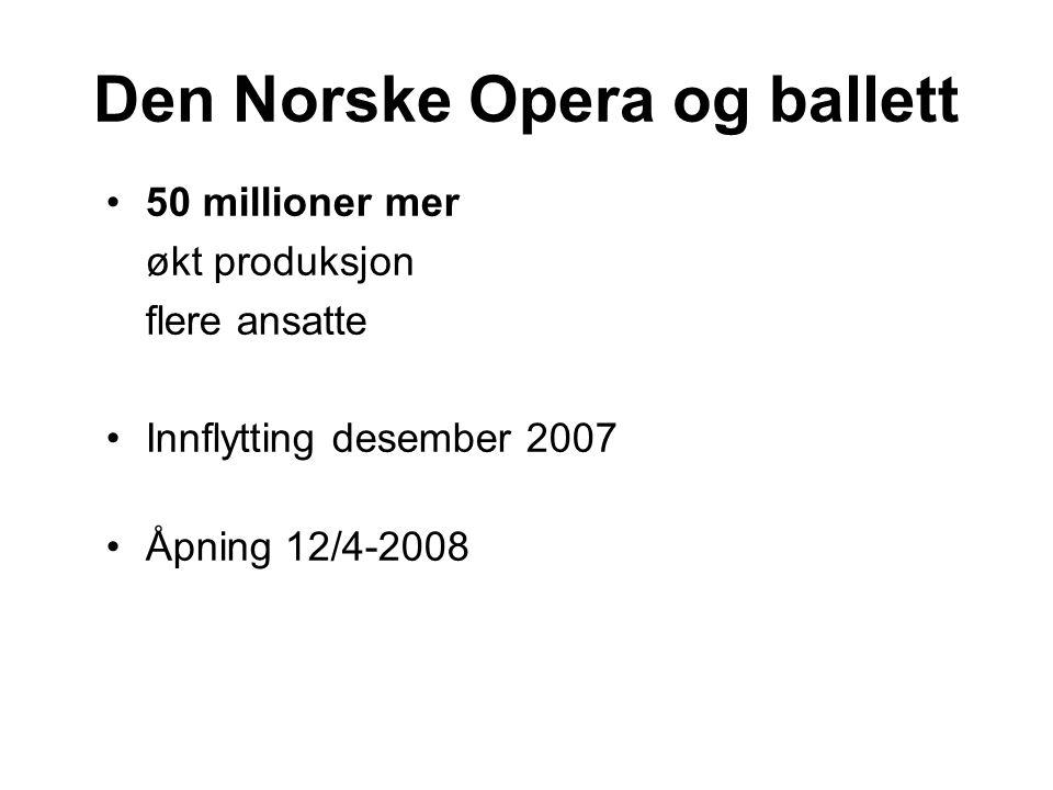 Den Norske Opera og ballett 50 millioner mer økt produksjon flere ansatte Innflytting desember 2007 Åpning 12/4-2008