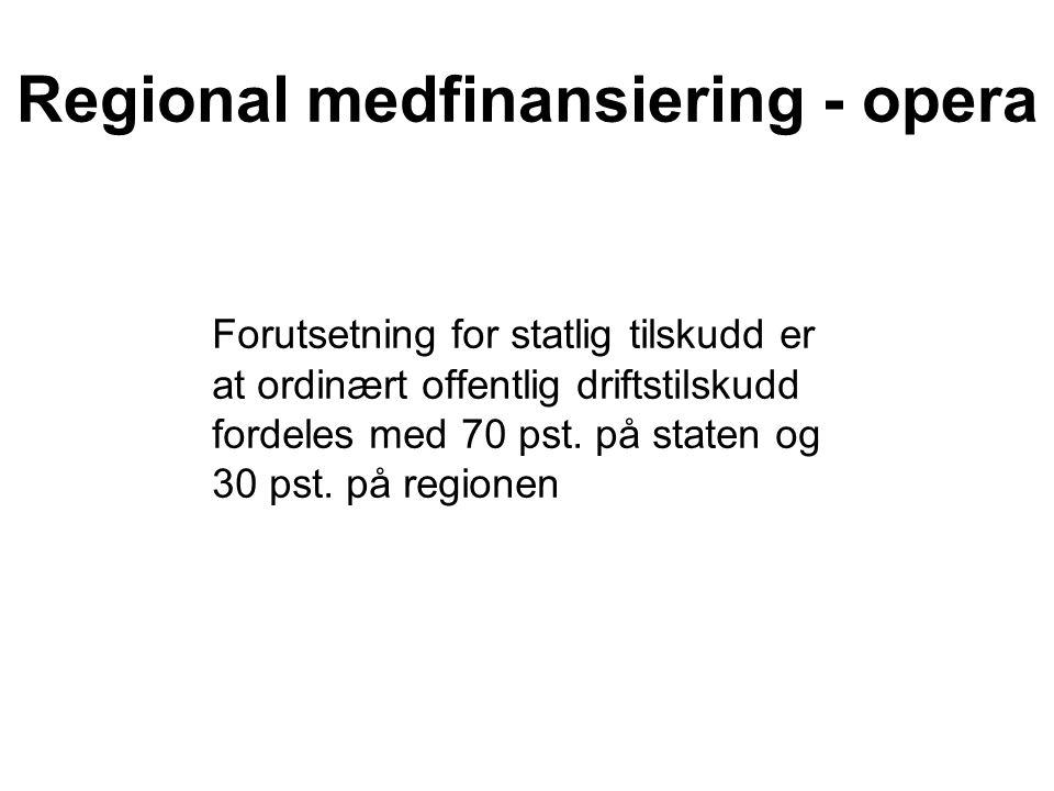 Regional medfinansiering - opera Forutsetning for statlig tilskudd er at ordinært offentlig driftstilskudd fordeles med 70 pst.