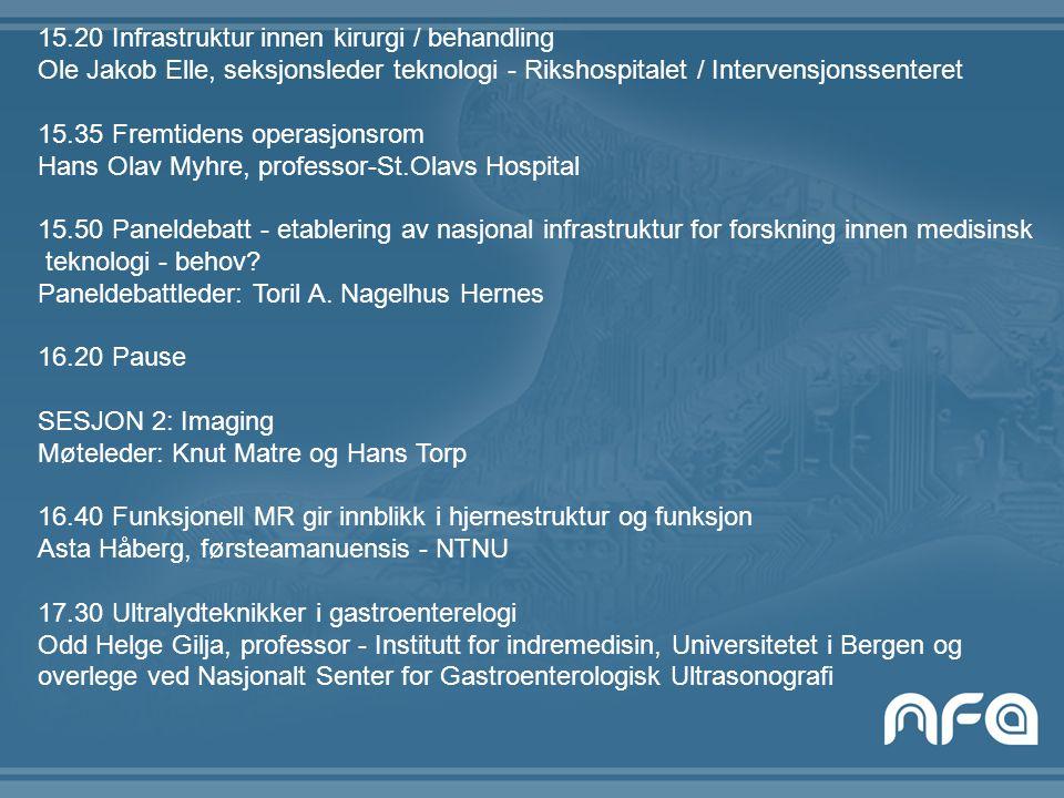 15.20 Infrastruktur innen kirurgi / behandling Ole Jakob Elle, seksjonsleder teknologi - Rikshospitalet / Intervensjonssenteret 15.35 Fremtidens opera