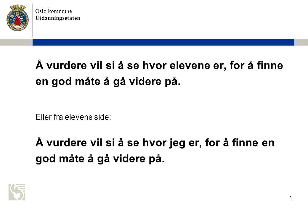 Oslo kommune Utdanningsetaten 31 Å vurdere vil si å se hvor elevene er, for å finne en god måte å gå videre på. Eller fra elevens side: Å vurdere vil
