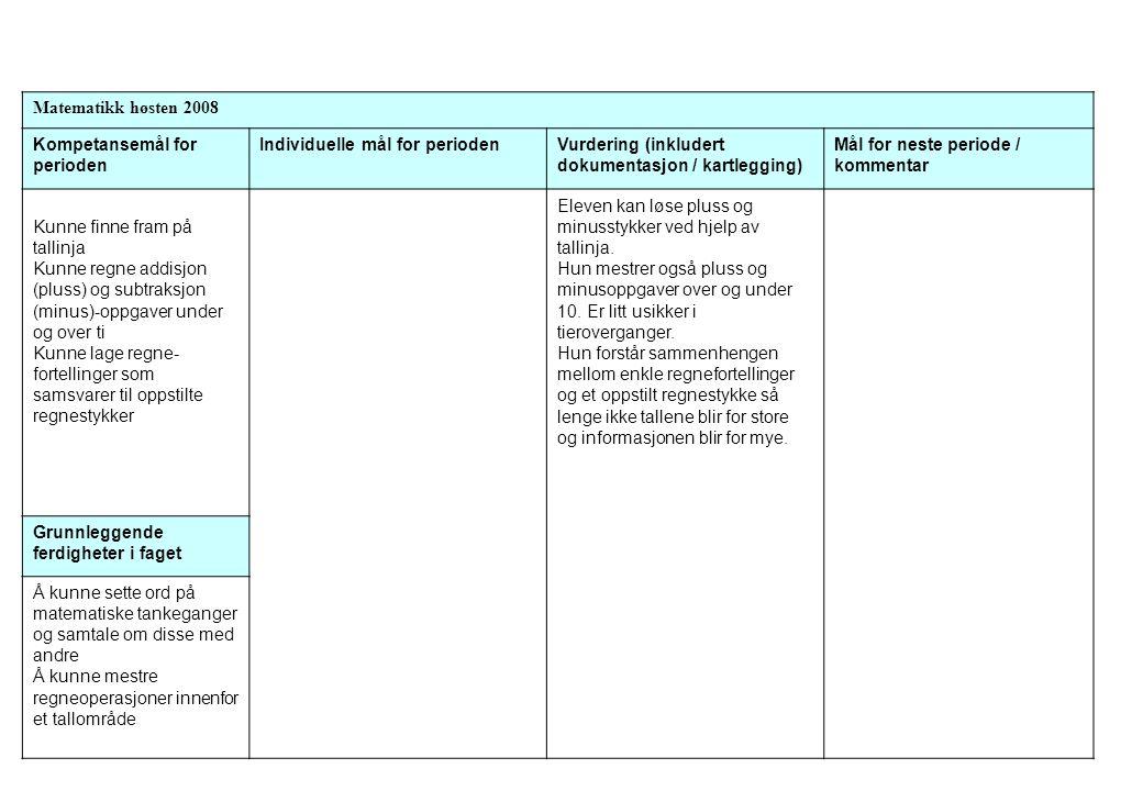 Matematikk høsten 2008 Kompetansemål for perioden Individuelle mål for periodenVurdering (inkludert dokumentasjon / kartlegging) Mål for neste periode