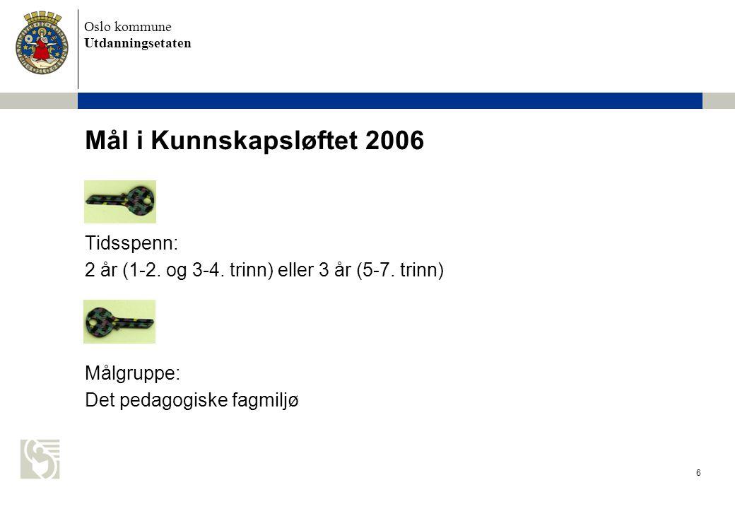 Oslo kommune Utdanningsetaten 6 Mål i Kunnskapsløftet 2006 Tidsspenn: 2 år (1-2. og 3-4. trinn) eller 3 år (5-7. trinn) Målgruppe: Det pedagogiske fag
