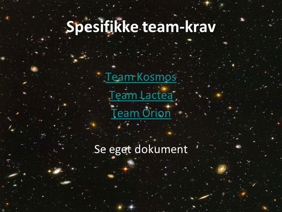 Spesifikke team-krav Team Kosmos Team Lactea Team Orion Se eget dokument